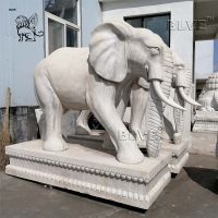 China White Marble Elephant Statue Large Stone Garden Animals Sculpture factory