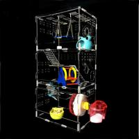 China hot sale New style clear square household 3 steps acrylic hamster cage for sale with available price factory