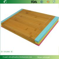 China TFGJ001/ Meat Bamboo Wooden Cutting Board Butcher Block with Non-Slip Color Silicone Edges on sale
