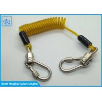China Yellow Wire Coil Lanyard With Locking Screwgate Carabiner For Stop Drop Tools factory