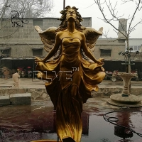 China Large Bronze Angel Statue With Winged Life Size Brass Lady Sculpture factory