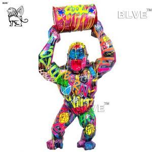 China Colour Spraying Resin Gorilla Sculpture Life Size Fiberglass Cartoon Statues factory