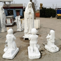 China Marble Mary And Children Statues Religious Virgin Sculpture Life Size factory