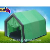 Green Inflatable Event Tent Triangle Shape , Camping Family Tent With Door Curtain