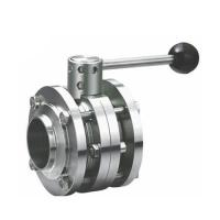 China Sanitary Stainless Steel 3PCS Butterfly Valve welding type with Plastic Gripper Handle on sale