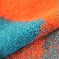 China Orange Large Square knitted Wool Jacquard Fabric Women Apparel Material factory