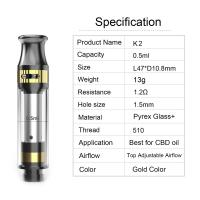 Buy cheap CBD tank K2 cartridge 0.5ml tank capacity adjustable airflow ceramic coil pyrex glass and metal material gold color from Wholesalers