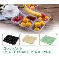 China Disposable corn starch plates biodegradable corn starch food container, Disposable PLA Serving Divided Lunch Tray factory