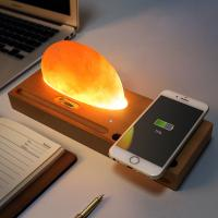 China Beech Wireless Qi Charger Mineral Rock LED lamp Wireless Charging Pad for Smartphone on sale