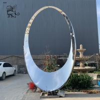 China Stainless Steel Circle Sculpture Large Abstract Garden Statue For Park Decoration factory
