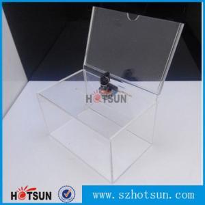 China Custom box Plexiglass acrylic donation/tips/sugguestion box with sign holder factory
