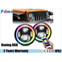 Buy cheap New 7 Inch Jeep Headlights Running RGB Halo with Amber Signal Bluetooth Remote Music Mode for Jeep Wrangler TJ JK from Wholesalers
