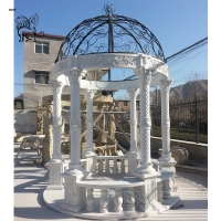 China Marble Gazebo White Garden Stone Roman Relief Columns Hand Carved With Iron Dorm factory