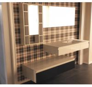 China Floating Vanity Big Mirror Bathroom Vanity Cabinets Quartz Stone Countertop on sale