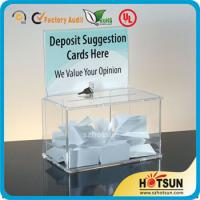 China Waterproof Lockable Acrylic Donation / Suggestion Boxes with Card Holders factory