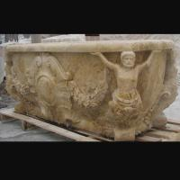 China Hotel Deocration Beige travertine bathtub with figure statue carving for bathroom,china sculpture supplier factory