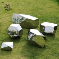 China Stainless Steel Sculpture Garden Mirror Polished Geometric Modern Abstract Art Landscape Manufacturer factory