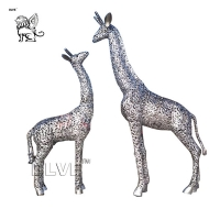 China Modern Large Stainless Steel Animal Sculpture Metal Art Giraffe Statue factory