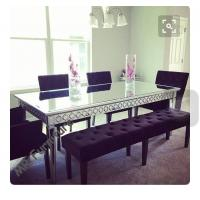 Buy cheap Sophia Silver Glass Dining Table , 160 * 90 * 75cm Mirror Dining Room Table from Wholesalers