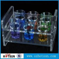 China China factory wholesale black or clear colored acrylic shot glass serving holder tray factory