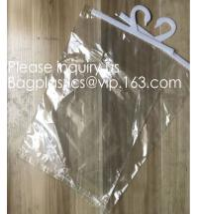 China Custom Logo Printing EVA Garment Underwear Clothes Packaging Transparent Button Pvc Soft Plastic Hanger Hook Bag, BAGEAS factory