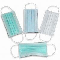 China Disposable Nonwoven Medical Masks, Latex and Fiberglass Free, Breathable factory