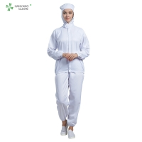 China Multi Color breathable ESD work uniform with hygroscopic and sweat releasing fiber for food industry factory