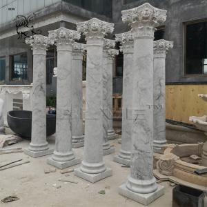 China Carrara Marble Column White Roman Pillar Natural Stone Garden Decoration factory