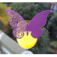 China lace unique laser cut place cup cards butterfly shape cup card for wedding factory
