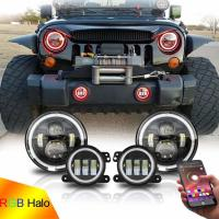 Buy cheap 7inch LED Headlights + 4inch LED Fog Light Combo with RGB Halos for 1997-2017 Jeep Wrangler JK CJ Upgrade Modification from Wholesalers
