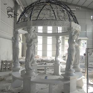 China Luxury Large Marble Garden Gazebo Stone Lady Relief Columns Pavilion factory