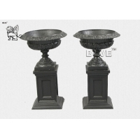 China Large Cast Iron Flower Pot Urns  Metal Classic Planters For Sale factory