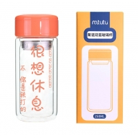 China 2 Layer Glass Drinking Water Bottles With Tea Filter Orange Color factory