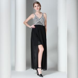Claire 2016 Mini Black Striped Sleeveless Top Sexy Backless Women Maxi Dress Elegant Rope Bandage Long Dress Vestidos