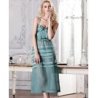 China Soft Lady Green / Pink Silk Lingerie Pajama Nightgown For Summer factory