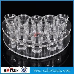 China acrylic beer tasting tray holder / acrylic tray cup holder / acrylic shot glass tray for bar factory