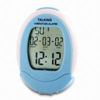 China Talking Vibrating Alarm Clock with Date and Day Displays on sale