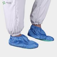 China ESD anti-static cleanroom shoes cover with PVC soft sole anti-slip blue color for electronic workshop factory