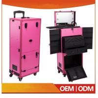 Quality Newest Design Professional Pink Pvc Makeup Trolley Case With Touch Screen Mirror Light wholesale