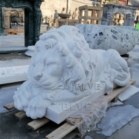 China Large Marble Sleeping Lion Statue Natural Stone Animal Garden Decor factory