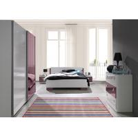 Buy cheap European Red and White High Gloss Home Bedroom Furniture With Mirror Sliding Wardrobe from Wholesalers