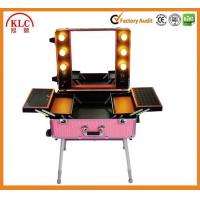 China Makeup case with lights and mirror aluminum trolley case empty case with trays bluetooth player on sale