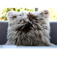 Buy cheap Mongolian lambskin pillow Curly fur throw Long hair tibetan lamb fur cushion cover from Wholesalers