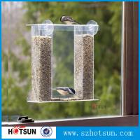 China Wholesale acrylic window bird feeder with drain holes, removable tray and water trays ,strong suction cups new factory