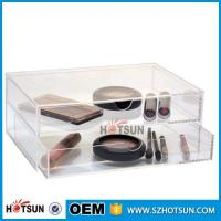 China Diamond Handle Clear Acrylic Makeup Organizer, Acrylic Makeup Drawer Box, Flip Cover Acrylic Cosmetic Storage Boxes factory