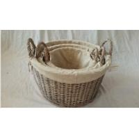 Willow wicker storage basket with liner