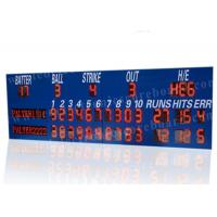 China Professional LED Baseball Scoreboard With Blue Frame Cabinet 1400mm*3800mm*100mm factory