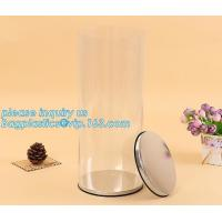 China clear PVC PET can for food canning,Customized round clear paint can with tin lid,paint can with tin top & bottom and han factory