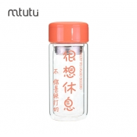 Buy cheap 2 Layer Glass Drinking Water Bottles With Tea Filter Orange Color from wholesalers