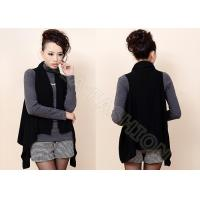 China Sleeveless Black Womens Cardigan Sweaters Fine Knit / Ladies Cashmere Sweater on sale